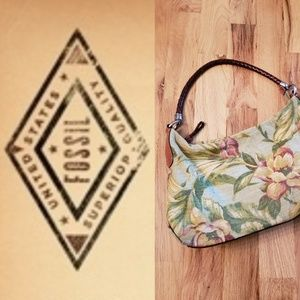 RARE Vintage Fossil Floral Barkcloth Shoulder Bag